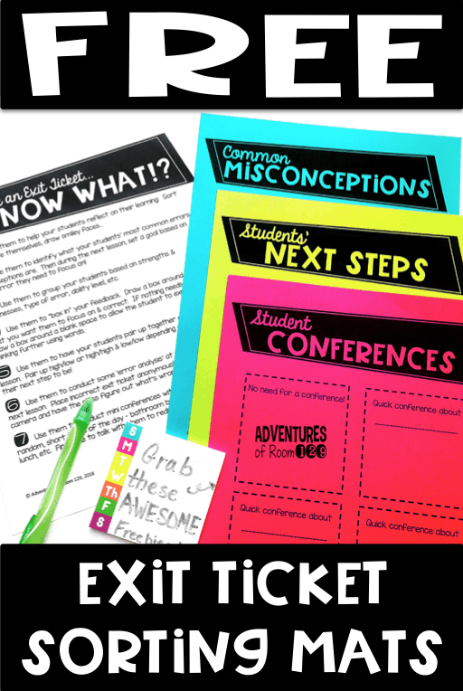 Need some fresh ideas on how to use Exit Tickets in your Math or ELA lessons? Read this article with loads of ideas for elementary teachers on how to use exit tickets after they've been given. You can even download your FREE printable exit ticket sorting mat templates to help organize the exit tickets after they've been collected. Exit tickets help make student learning more focused and achievable! Come read about how you can collect the data but use it in unique ways too!