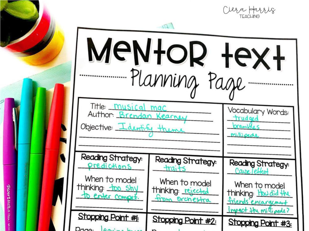 mentor text planning page