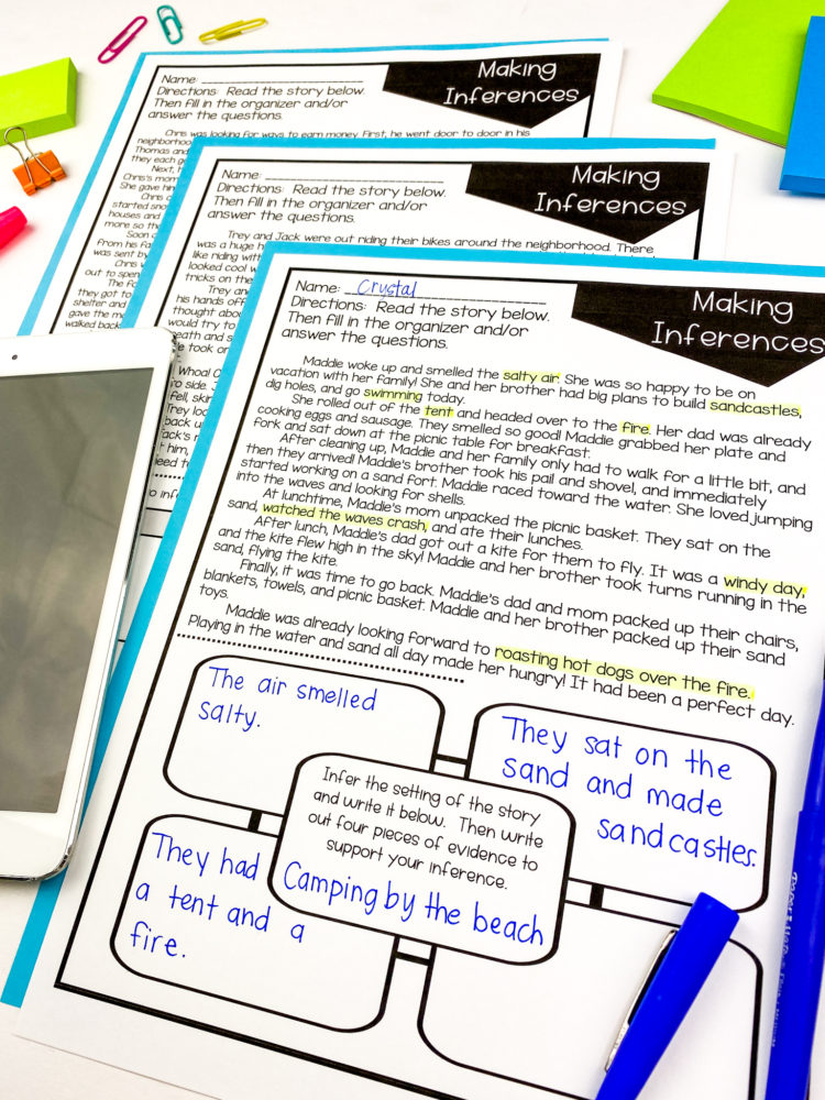 comprehension one pagers