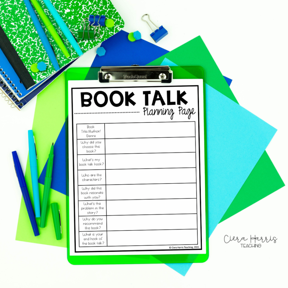 book talk planning page
